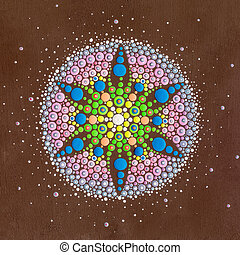 Dots mandala on wood - Colourful dots painted on a sqare...
