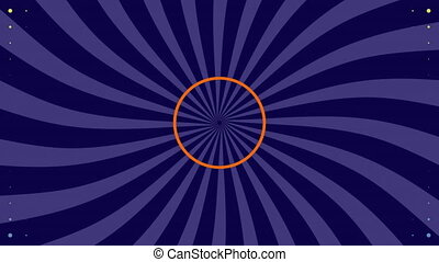 Dots moving in hypnotic motion against spinning purple stripes