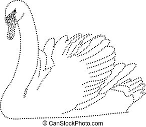 Dots Swan - rhinestones/ outline dots of a swan
