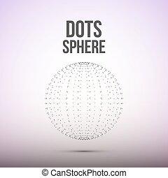 dots., wireframe, illustrazione, polygonal, sfera, vettore, element., maglia