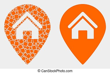 Dotted and Flat Vector House Map Marker Icon