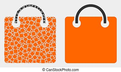 Dotted and Flat Vector Shopping Bag Icon
