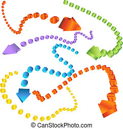 Dotted Arrows - Set of 3D arrows with dotted line trails ...