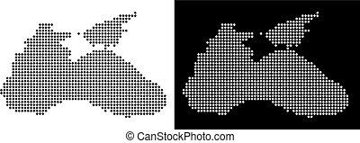 Dotted Black Sea Map - Vector rhombus pixel Black Sea map....