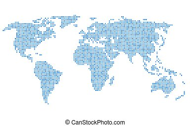 Dotted Blue World Map on White Background. Vector...