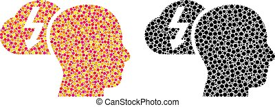 Dotted Brainstorming Mosaic Icons