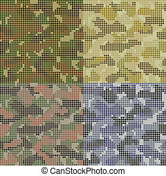 Dotted Camouflage Patterns Set in different colors