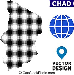 Dotted Chad Map - Dot Chad map. Vector territory map in dark...