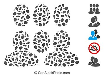 Dotted Mosaic based on auditory. Mosaic vector auditory is formed with random oval spots. Bonus icons are added.