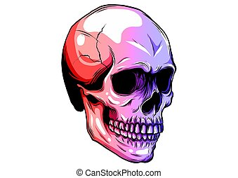 Dotted colorful halftone skull icon drawn with rainbow color variations with horizontal gradient on a black background.