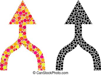 Dotted Combine Arrow Up Mosaic Icons - Dotted combine arrow...