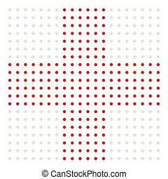Dotted cross sign for medical, healthcare, first-aid concepts
