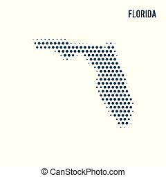 Dotted Florida map isolated on white background.