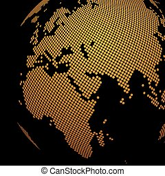 Dotted golden globe background