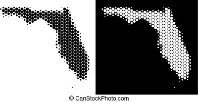 Dot halftone Florida map. Vector geographic map on white and black backgrounds. Abstract collage of Florida map organized with spheric pixels.