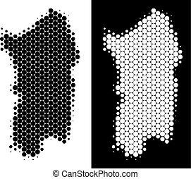 Dotted Halftone Italian Sardinia Island Map - Pixel halftone...