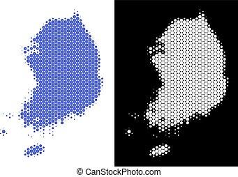 Dotted Halftone South Korea Map