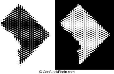 Dotted Halftone Washington DC Map - Pixel halftone...