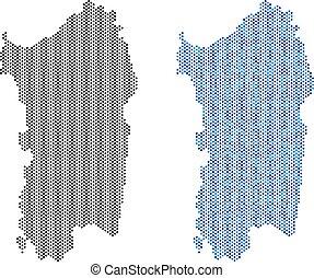 Dotted Italian Sardinia Island Map Abstractions - Dot...