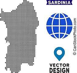 Dotted Italian Sardinia Island Map - Dot Italian Sardinia...