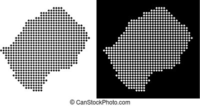 Dotted Lesotho Map - Vector rhombic pixel Lesotho map....