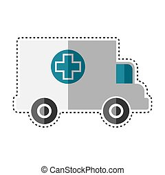 Dotted line ambulance icon. Medicla icon - Vector