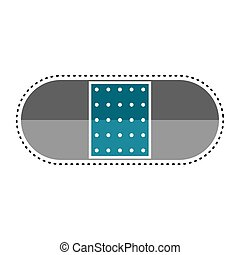 Dotted line band-aid icon. Medical icon - Vector