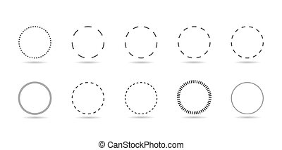 dotted line circle set - Dotted line circle form. Simple ...