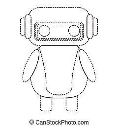 Dotted line cute robot toy icon