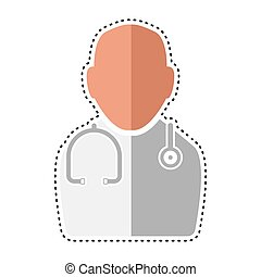 Dotted line doctor icon. Medical icon - Vector