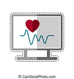 Dotted line electrocardiogram icon - Dotted line ...