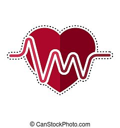Dotted line electrocardiogram icon. Medical icon - Vector