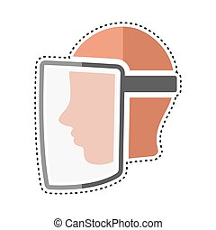 Dotted line face visor icon. Medical biosecurity uniform - ...