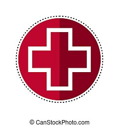 Dotted line hospital signal. Medical icon - Vector