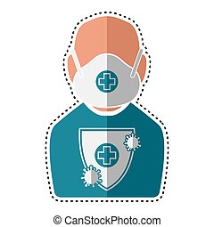 Dotted line man with protection uniform. Medical biosecurity...