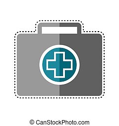 Dotted line medical briefcase icon. First aid kit icon - ...