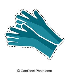Dotted line medical gloves icon. Medical biosecurity uniform...