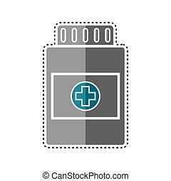 Dotted line pill bottle icon. Medical icon - Vector