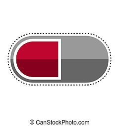 Dotted line pill icon. Medical icon - Vector