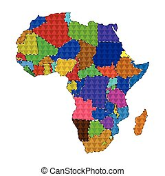 Dotted line political map of Africa