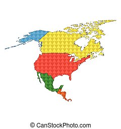 Dotted line political map of North America