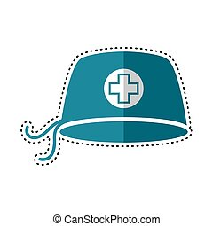 Dotted line surgical cap icon. Medical biosecurity uniform...