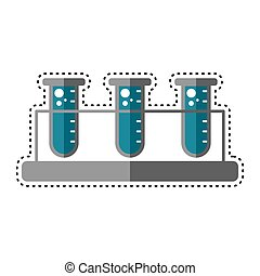 Dotted line test tube icon. Medical icon - Vector