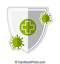 Dotted line virus protection shield icon - Vector