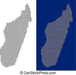Dotted Madagascar Island Map - Pixel Madagascar Island map....