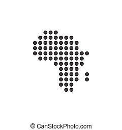 dotted map of Africa icon, vector illustration isolated on white background.
