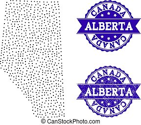 Dotted Map of Alberta Province and Grunge Stamp Composition