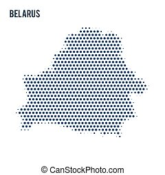 Dotted map of Belarus isolated on white background.
