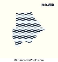 Dotted map of Botswana isolated on white background.