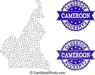 Dotted Map of Cameroon and Distress Stamp Composition